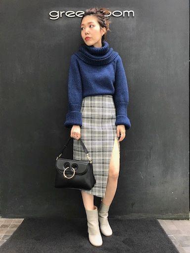 藍色×千鳥格子の写真