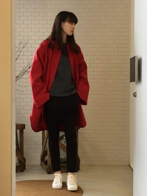赤のジャケット。の写真