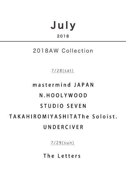TRUNK15 2018AW Collection 7/28(sat)の写真
