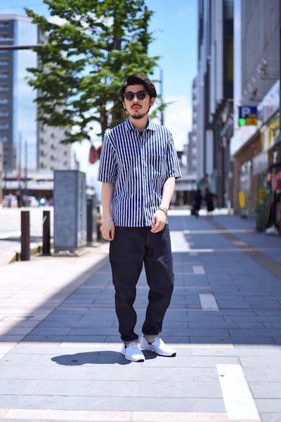 【MAISON KITSUNE 】/ ストライプ柄 半袖シャツ  : Stylingの写真