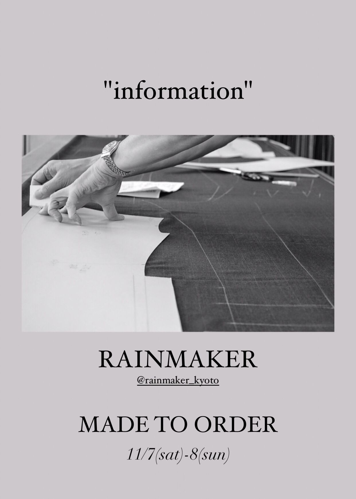 RAINMAKER MADE TO ORDER 11/7-8の写真