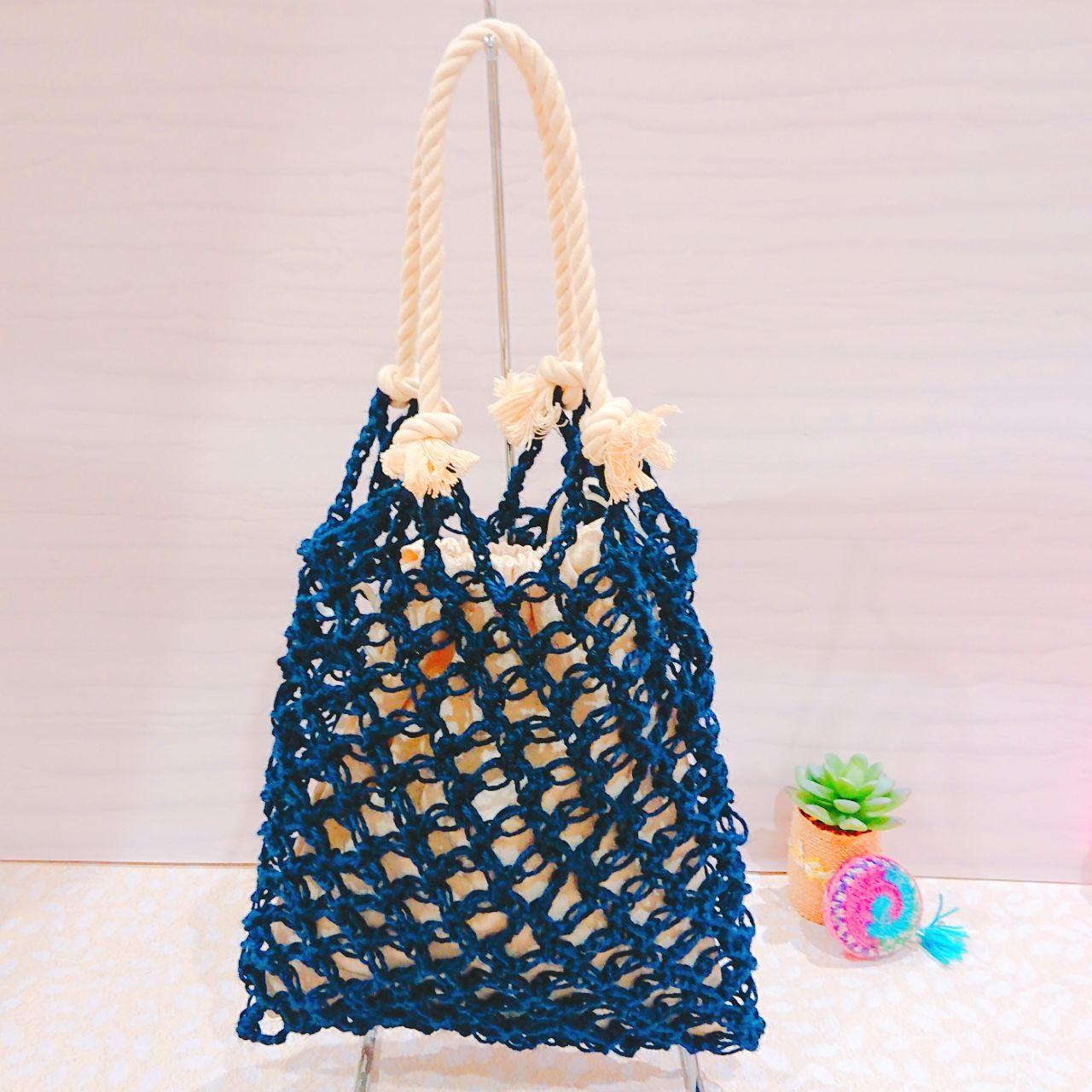 紐 方 麻 バッグ 編み