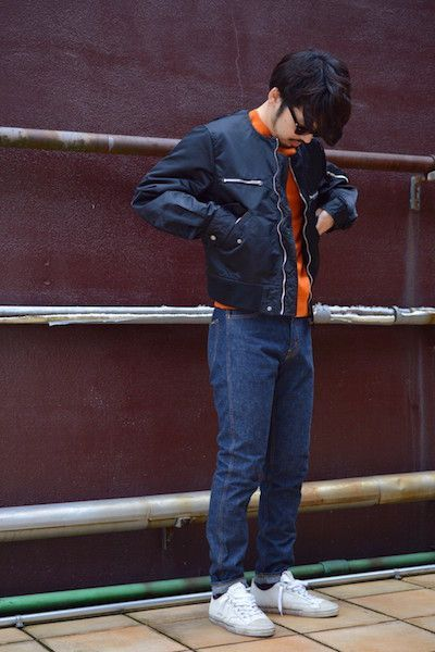 【 The Letters 】/ Collarless Flight Jacket. Stylingの写真