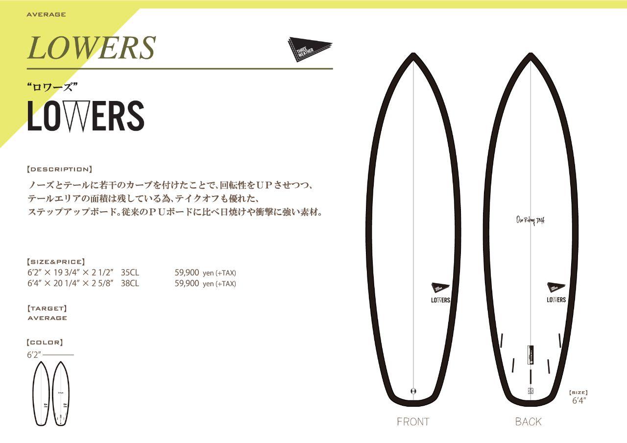 ThreeWeatherサーフボード「LOWERS(ロワーズ)」紹介