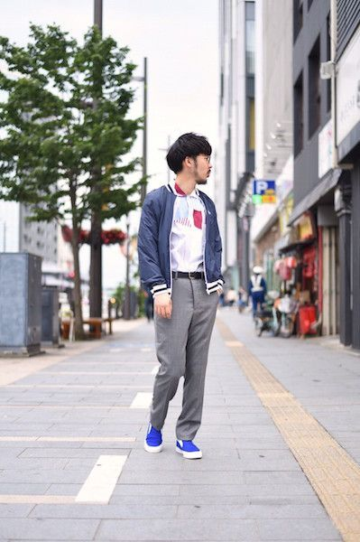 【 MAISON KITSUNE 】/ ALL-OVER PATCHED STRIPES SHIRT : Stylingの写真